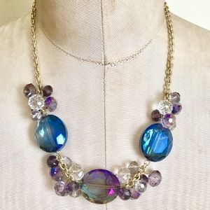 Purple blue crystal glass necklace gold